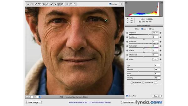 Correcting exposure by brightening shadows: Photoshop CS4 for Photographers: Camera Raw