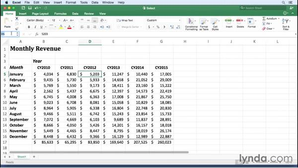Selecting cells and groups of cells: Excel for Mac 2016 Essential Training