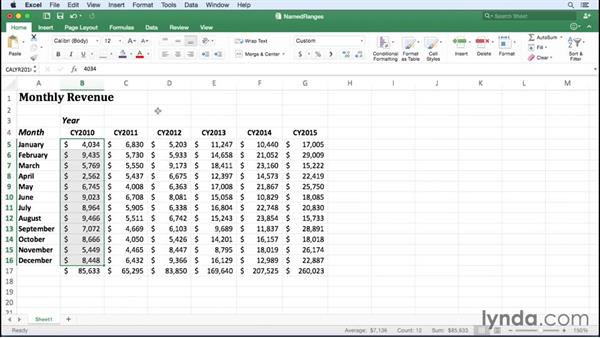 Creating named ranges: Excel for Mac 2016 Essential Training