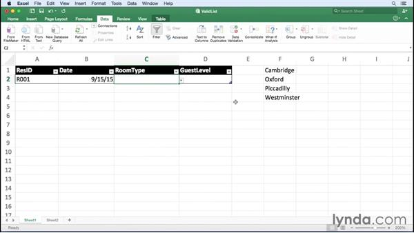 Using lists to limit data entered into a cell: Excel for Mac 2016 Essential Training
