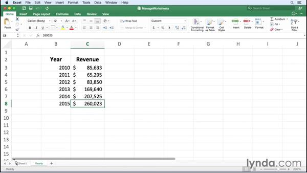 Managing worksheets: Excel for Mac 2016 Essential Training