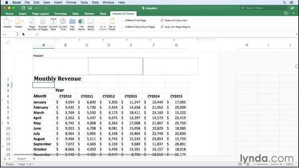 Creating, editing, and deleting headers and footers: Excel for Mac 2016 Essential Training