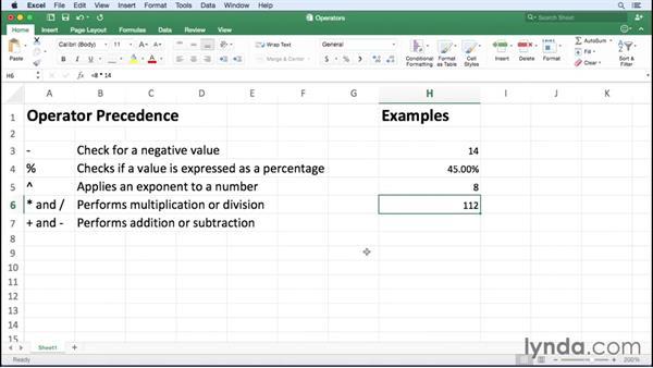 Introducing arithmetic operators: Excel for Mac 2016 Essential Training