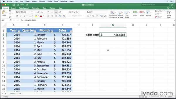 Referring to Excel table data in formulas: Excel for Mac 2016 Essential Training