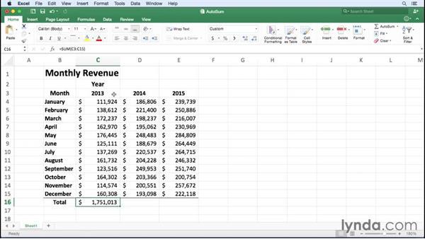 Creating an AutoSum formula: Excel for Mac 2016 Essential Training
