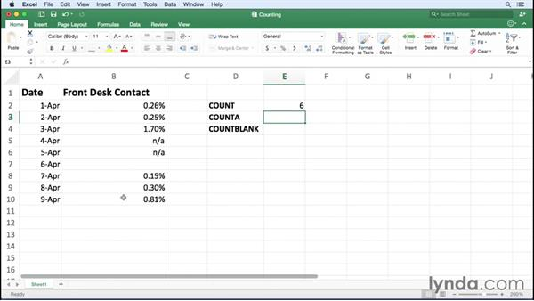 Creating formulas to count cells: Excel for Mac 2016 Essential Training