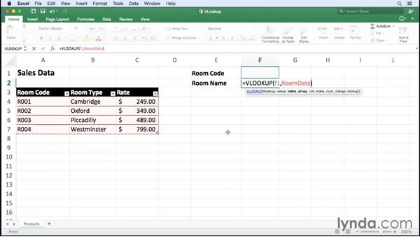 Finding data using VLOOKUP and HLOOKUP: Excel for Mac 2016 Essential Training