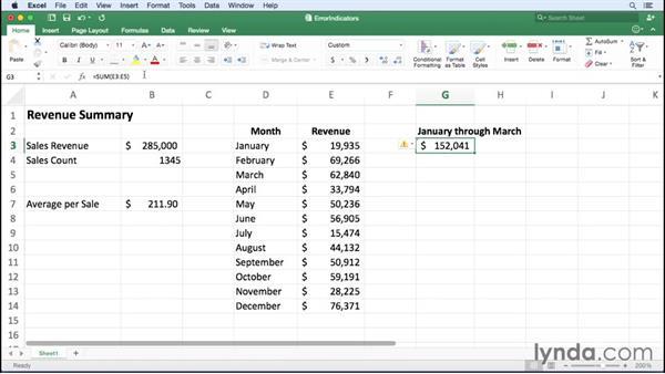 Managing Excel formula error indicators: Excel for Mac 2016 Essential Training