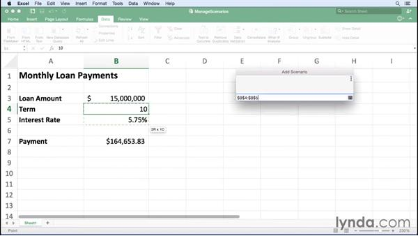 Managing scenarios: Excel for Mac 2016 Essential Training