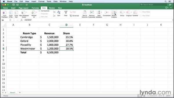 Performing Goal Seek analysis: Excel for Mac 2016 Essential Training