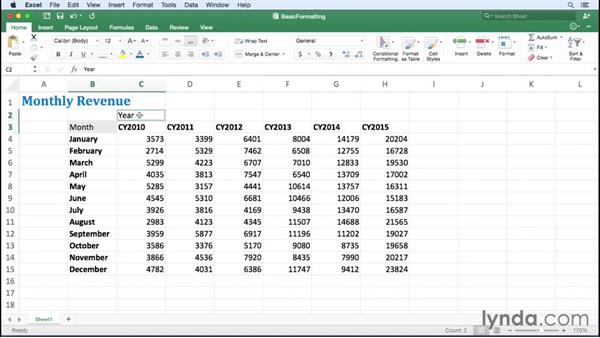 Applying fonts, background colors, and borders: Excel for Mac 2016 Essential Training