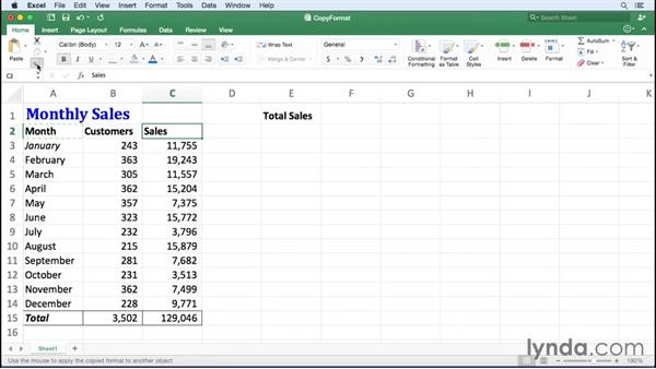 Copying cell formats: Excel for Mac 2016 Essential Training