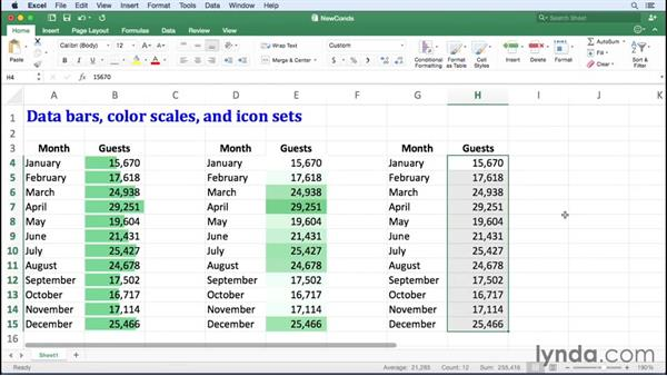 Defining data bar, color scale, and icon set conditional formats: Excel for Mac 2016 Essential Training