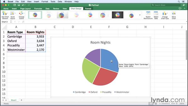Creating pie charts: Excel for Mac 2016 Essential Training