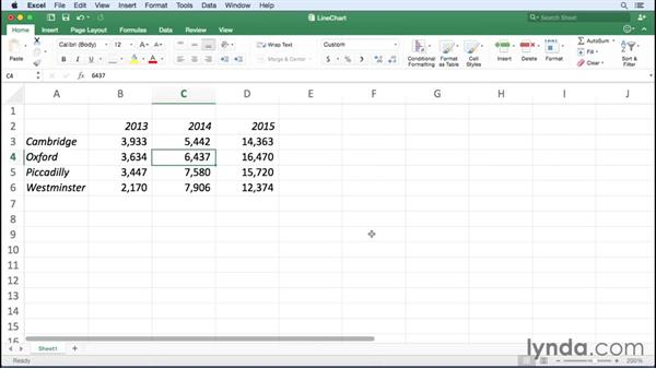 Creating line charts: Excel for Mac 2016 Essential Training