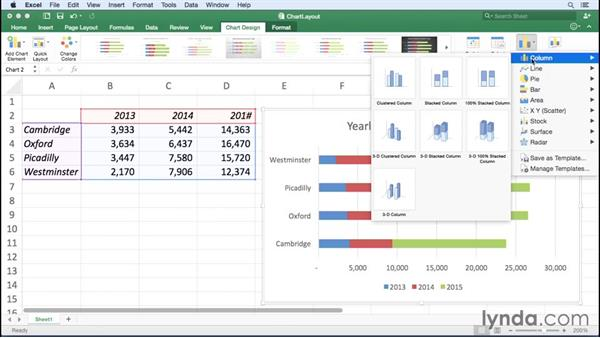 Changing chart types and layouts: Excel for Mac 2016 Essential Training