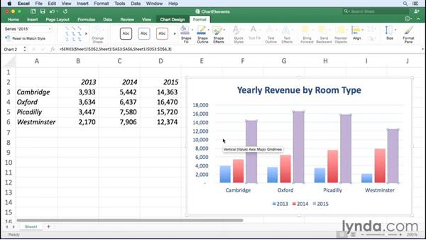 Changing the appearance of chart elements: Excel for Mac 2016 Essential Training