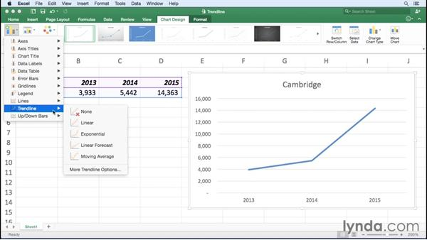 Adding trendlines to charts: Excel for Mac 2016 Essential Training