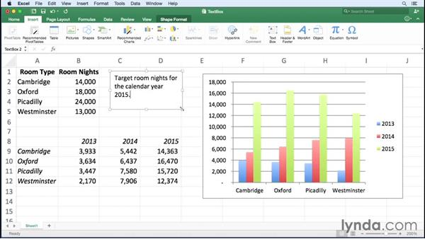 Manipulating text boxes: Excel for Mac 2016 Essential Training