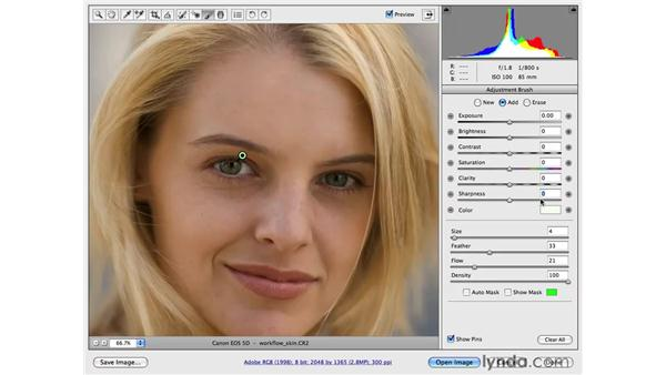 Workflow for sharpening eyes and smoothing skin: Photoshop CS4 for Photographers: Camera Raw