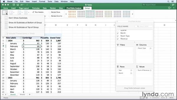 Managing subtotals and grand totals: Excel for Mac 2016 Essential Training