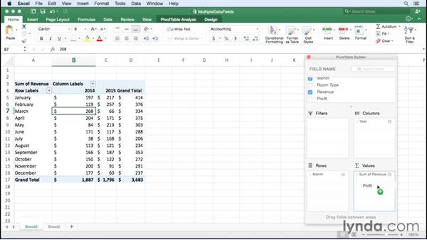 Summarizing more than one data field: Excel for Mac 2016 Essential Training