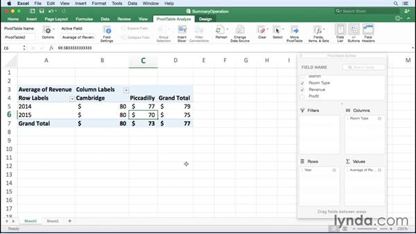 Changing the data field summary operation: Excel for Mac 2016 Essential Training