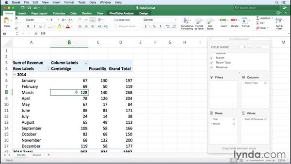 Changing the data field number format: Excel for Mac 2016 Essential Training