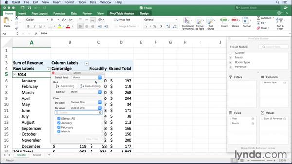 Filtering a PivotTable report: Excel for Mac 2016 Essential Training