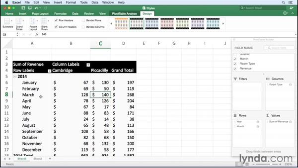 Applying a PivotTable style: Excel for Mac 2016 Essential Training