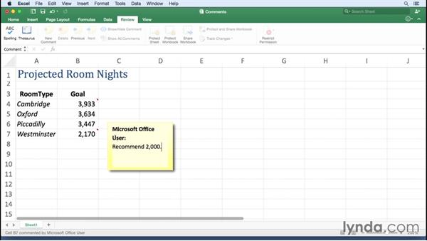 Managing workbook comments: Excel for Mac 2016 Essential Training