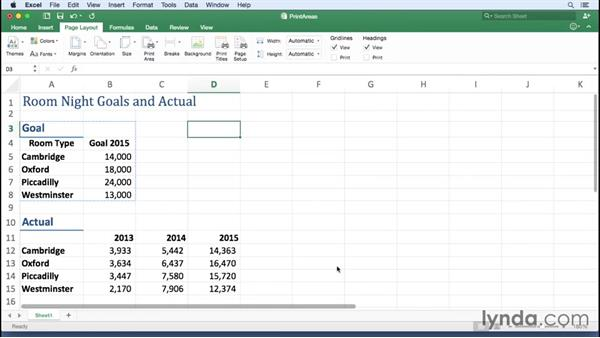 Setting and removing print areas: Excel for Mac 2016 Essential Training