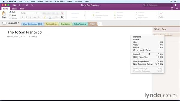Working with pages and subpages: OneNote for Mac 2016 Essential Training