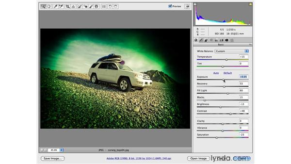 Employing creative effects with the Graduated filter: Photoshop CS4 for Photographers: Camera Raw