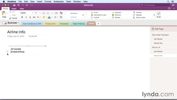 Creating a note on a page: OneNote for Mac 2016 Essential Training