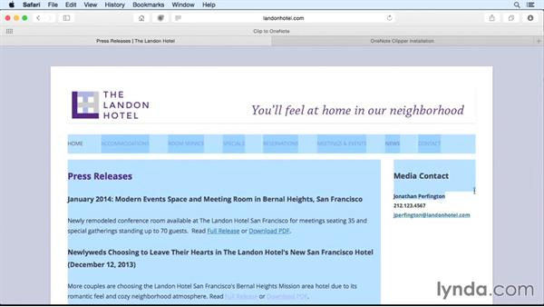 Sending screen clippings to OneNote: OneNote for Mac 2016 Essential Training