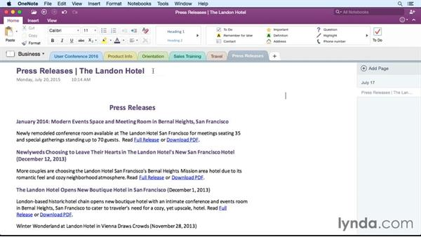 Formatting paragraphs with styles: OneNote for Mac 2016 Essential Training