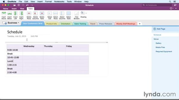 Formatting tables and data: OneNote for Mac 2016 Essential Training