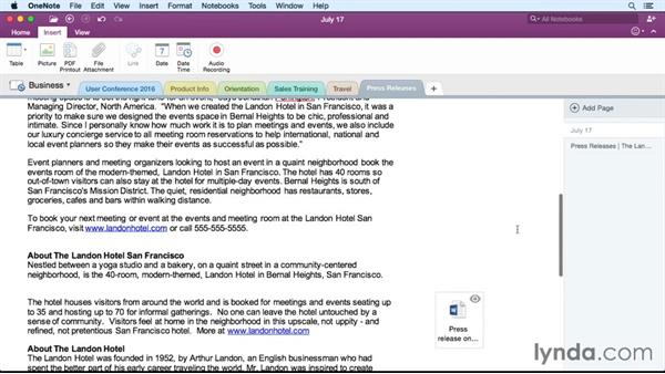Adding file attachments: Office 365 for Mac: OneNote Essential Training