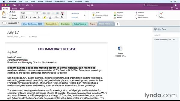 Formatting text: Office 365 for Mac: OneNote Essential Training