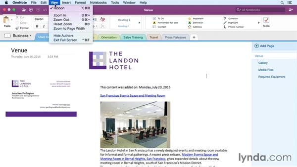 Adjusting view options: Office 365 for Mac: OneNote Essential Training