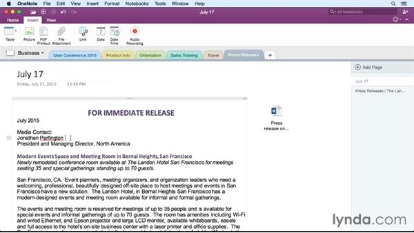 Linking notes: Office 365 for Mac: OneNote Essential Training
