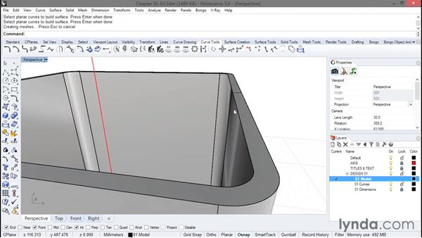 Creating the edge details: Rhino Projects: Building a Gaming Console
