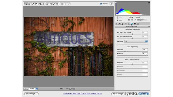 Adding a vignette project: Antique sign: Photoshop CS4 for Photographers: Camera Raw