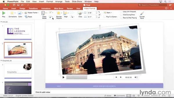 Formatting and working with video from your computer: PowerPoint for Mac 2016 Essential Training