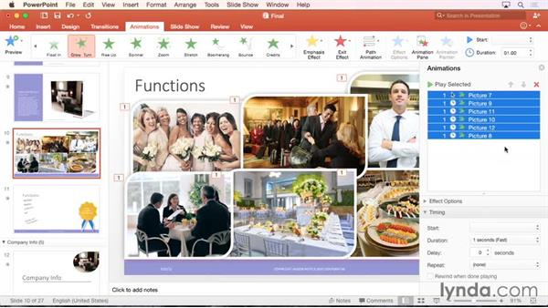 Adding animation to objects and text: PowerPoint for Mac 2016 Essential Training
