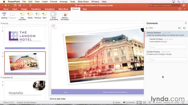 Remove comments: PowerPoint for Mac 2016 Essential Training