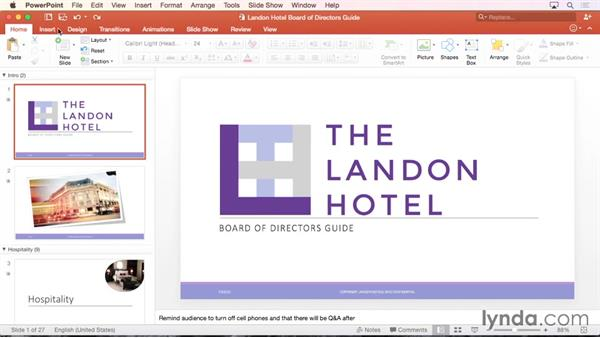 Touring the PowerPoint interface: Office 365 for Mac: PowerPoint Essential Training