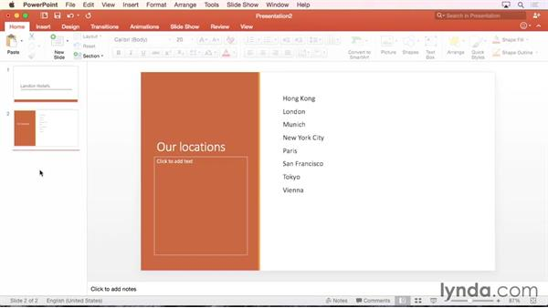 Creating a presentation from a template or theme: Office 365 for Mac: PowerPoint Essential Training