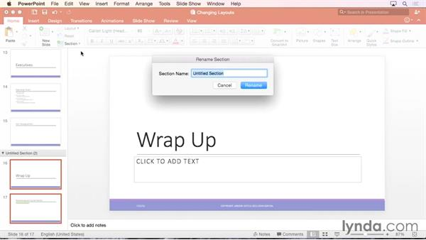 Organizing slides into sections: Office 365 for Mac: PowerPoint Essential Training